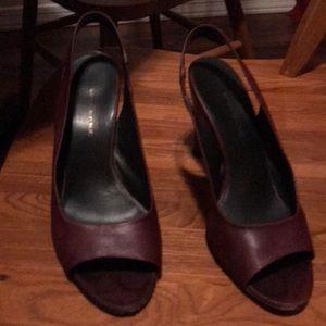 Burgundy slingback heels